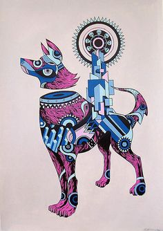 Wolves from the mind of China Mike #geometric #illustration #wolf #animals #dog