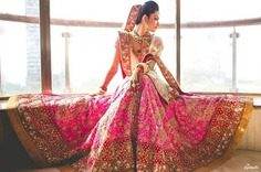 embroidered pink bridal lehenga