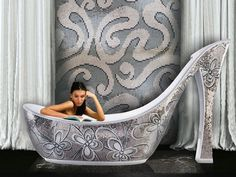 Luxury art bathtub like silver mosaic woman shoe #artistic #bathroom #furniture #art #bathtub