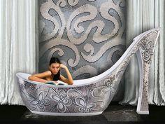 Luxury art bathtub like silver mosaic woman shoe #artistic #bathroom #furniture #art #bathtub