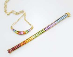 Necklace and bracelet in rainbow colors