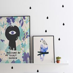 #nordic #design #graphic #illustration #danish #bright #simple #nordicliving #living #interior #kids #room #poster #bird #blue #feathers