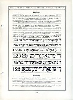 This type specimen shows some of Intertype's Hebrew fonts.