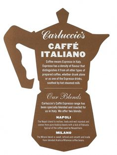 Carluccio's Print | Irving & Co #design #illustration #coffee #type #typography