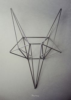 bongo design: steel fox head #steel #frame #bongo #fox #design #wire