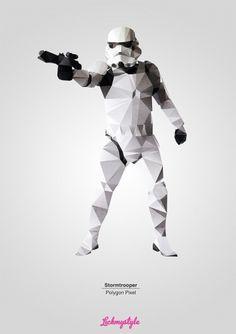 stormtrooper-polygon-pixel-bg1.jpg (JPEG Image, 900×1273 pixels) #star wars #storm trooper #origami #polygon