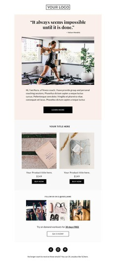 Fitness email template Mailchimp Newsletter Template Custom | Etsy