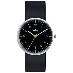 Black Leather Mens Watch BN0021BKBKG #black #sleek #braun #time #watch