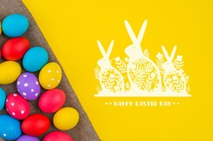 Happy easter day Free Psd. See more inspiration related to Pattern, Mockup, Template, Spring, Celebration, Happy, Holiday, Flat, Mock up, Easter, Religion, Rabbit, Egg, Traditional, Cloth, Bunny, View, Up, Happy easter, Day, Top, Top view, Eggs, Flat lay, Dotted, Cultural, Tradition, Painted, Mock, Seasonal, Easter day, Lay, Paschal and Painted egg on Freepik.