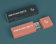 Free Brand USB Flash Drive Mockup PSD