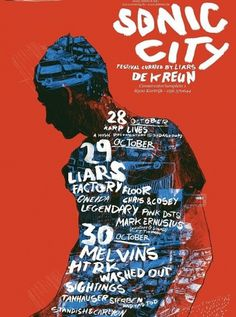 Sonic City #lettering #zwart #liars #city #design #sonic #de #kreun #ward #illustration #poster #music #hand