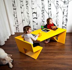 Creative Design to Everyday Objects by Thomas Laurens two seater table unfold thomas laurens 4 #design #furniture #desk #kids #room