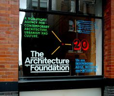 Architectural Foundation window decals by Helios Capdevilahttp://www.capdevila.co.uk/work/architecture foundation 20th anniversary windows. #typography