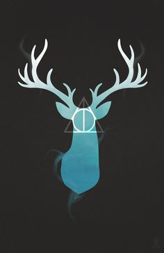 Harry Potter Stag + Deathly Hallows #harry potter #hp #stag #deathly hallows #hallows #illustration #deer #magic