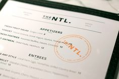 Art of the Menu: The National #white #menu #orange #black #clean #minimal