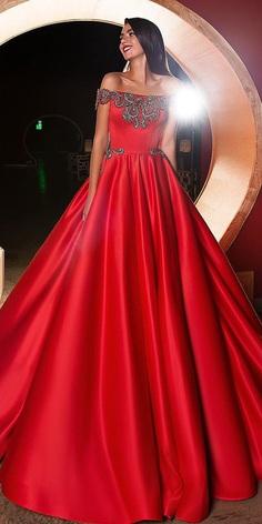 red wedding dresses princess off the shoulder beaded crystal design