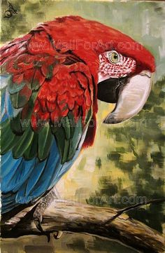 A different interpretation of realistic art - Angel Ivanov's paintings #parrot #realism #ara #portrait #painting #art #animal #oil