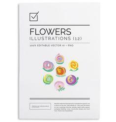 Watercolor Floral Set $8.00