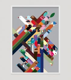 birdsframe1.jpg 610×689 pixels #abstract #print #birds #illustration