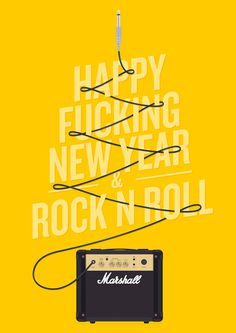Happy F** New Year & Rock n Roll poster #type #illustration #yellow