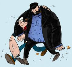 All sizes | Popeye and Captain Haddock | Flickr - Photo Sharing! #popeye #illustration #drawing