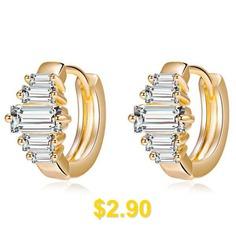 Tiny #Striped #Rhinestone #Earrings #- #WHITE