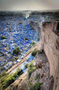 Jodhpur India a blue bright buildings