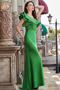 eDressit New Green One Ruffle Shoulder Long Party Evening Dress (00200604)