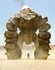 Holem by Leonid Enin #fantasy #giant #golem #rock #illustration #concept #sand #art #monster