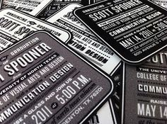 Scott Spooner's Graduation Announcements - FPO: For Print Only #white #coaster #black #and