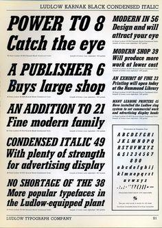 Karnak Bold Condensed Italic type specimen #type specimen #ludlow