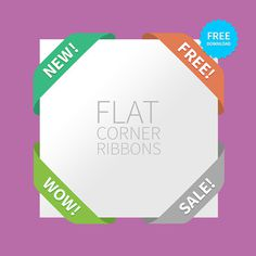 Freebie Flat Corner Ribbons #flat #corner #psd #free #freebie #photoshop #ribbon