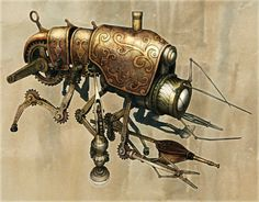 Klik Cog Cleaner Steampunk Art by Chris Miscik #illustration #bug #steampunk