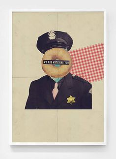 We Are Watching You!!! #police #print #vintage #poster #donut #collage