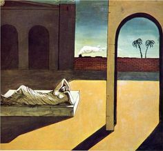 The Soothsayer's Recompense by Giorgio de Chirico (1913) #shadows #painting #art #still #life