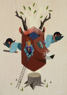 Oh Deer! | Flickr - Photo Sharing! #illustration #deer #tree #bird