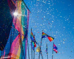 Gay Pride Parade, Rainbow flags and Confetti, Reykjavik, Iceland