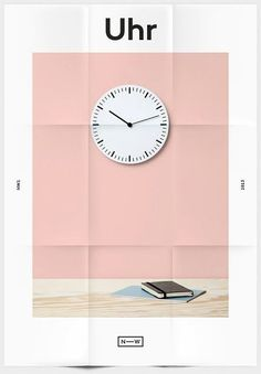 Neue Werkstatt #pink #graphic #blush #time #poster #clock #border #deco