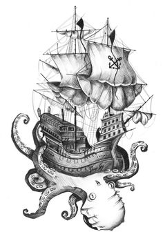 http://grincourtrene.tumblr.com/ #black and white #octopus #boat #ship