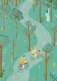 Boneshaker Magazine - Naomi Wilkinson Illustration #forest #bicycle #magazine #illustration #cycling