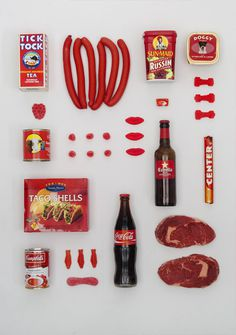 Somewhere Between 625 and 740 #beer #red #color #food #meat #poster #organized