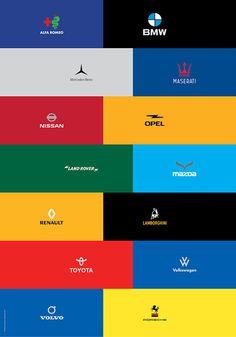Minimalist car logo re-design on Behance #minimalistic #branding #redesign #toyota #re-design #romeo #lamborghini #porsche #car #volkswage #bmw #brand #logo #opel #nissan #alfa #lancia #land #mazda #volvo #maserati #mercedes #minimal #rover