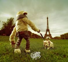 Le Creature Industry à Paris on the Behance Network #paris #eiffel #mascot #dog #france #monster #tower #toy #creature