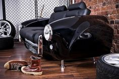 Vintage Cars Take a Front Seat | Yatzer™ #couch #chair #black #leather #car
