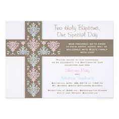 Boy and Girl Twin Christening Invitation #invitation