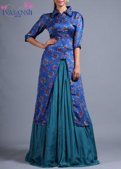 Vasansi Blue Silk Indo western