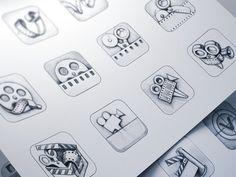 Vizzywig iOS Icon Design Process #icon #camera #appstore #vizzywig #icons #iphone #video #app #sketches #ios #editor #pencil