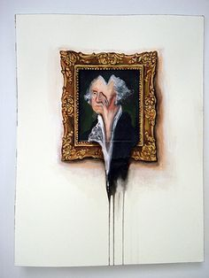 George Washington Portrait on Wall Melted(Work on Paper) #valerie #hegarty #painting