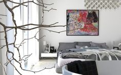 Colorful painting in modern bedroom #interior #paintings #bedroom #decor #art #painting