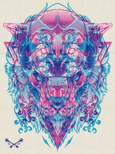 Halftone Print Series - Wolf & Lion on the Behance Network #print #lion #illustration #wolf #animal